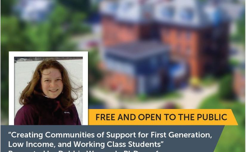 """Debbie Warnock on """"Creating Communities of Support for First Generation, Low Income, and Working Class Students,"""" as part of American International College's Lectures and Forums Series, Oct. 22,2019"""
